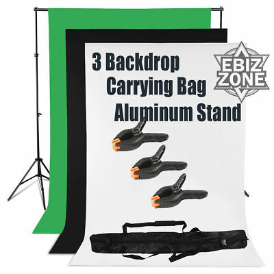 Black White Green Background Kit Backdrop Stand Support Chroma Key Photo Studio