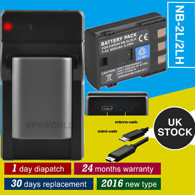 Battery + USB Charger For Canon NB-2L 2LH EOS 350D 400D S30 40 S5 50 55 G7 G9 UK
