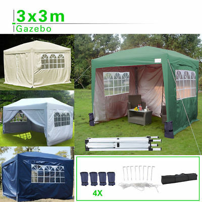Heavy Waterproof Duty Pop-Up x 3 Garden Gazebo 3m Gazebo Party Fully
