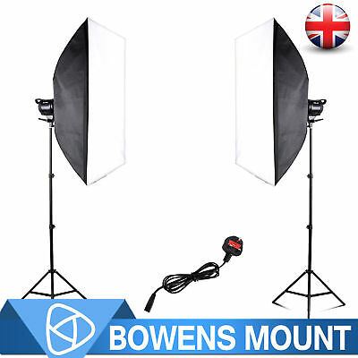 LED EL-60W Photo 2x Bowens Stand Soft Lights Mount Continuous Box Master