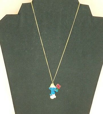 Collectible Vintage Smurf with Flowers Necklace for Kids