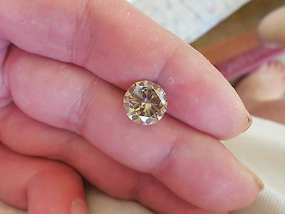 Fiery 3.47 ct Off White Brown Color Round Loose Moissanite VVS2 10.13 mm