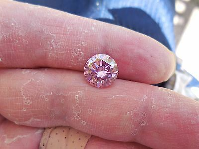 Fiery 3.17 ct Pinkish Purple Color Round Loose Moissanite VVS1 9.85 mm