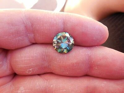 Fiery 5.18 ct Bluish Green Peacock Color Round Loose Moissanite VVS1 11.50 mm