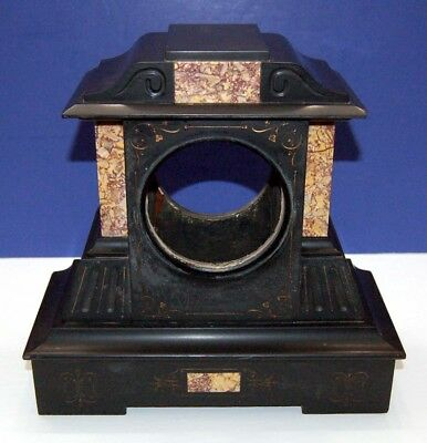 Antique c1860 French Victorian JAPY FRERES Black Marble Mantel Mantle Clock Case