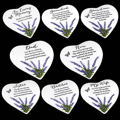 """Thoughts of You"" Lavender Stone Heart Memorial Plaque - Choose Design"