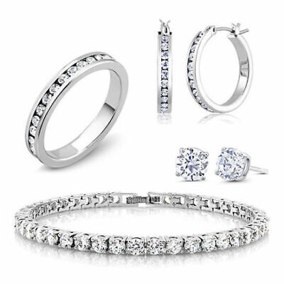 18K White Gold Plated and CZ Jewelry Set - Hoops, Studs, Tennis Bracelet, and