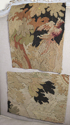 TWO  17th Century French Aubusson Verdure Tapestry Fragments