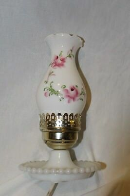 Vintage Milk Glass Electric Hurricane Lamp With Hand Painted Pink Flowers