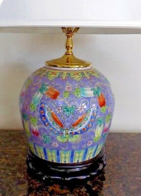 """Vintage Hand Painted  Chinese  Porcelain Ginger Jar Lamp  26"""" Tall Post Wwii"""