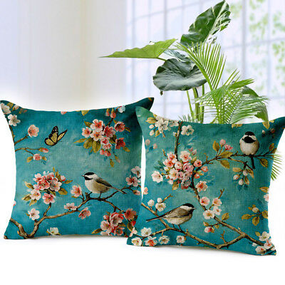 Oil Painting Bird Cushion Cover Car Decorative Throw Pillow Case Sofa Home Decor