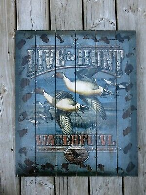 Geese Wood Wall Plaque Hunting Cabin Cottage Hunter Wall Decor New 24 x 20 in.