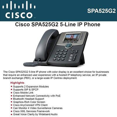 Cisco IP Phone SPA525G2, 5 Line Voip 802.11g Wi-Fi Phone.