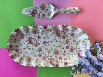 Vintage Fine Chinese Porcelain, Chintz Roses Cake Plate & A Matching Cake Knife
