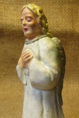 Vintage CHRISTMAS NATIVITY CHALK WARE ANGEL IN ADORATION 3.5""