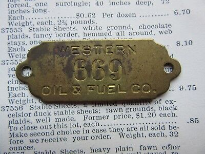 Western Oil & Fuel Company Brass Metal Tag Vintage Industrial Number 669 Jewelry