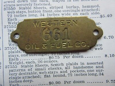 Western Oil & Fuel Company Brass Metal Tag Vintage Industrial Number 661 Jewelry