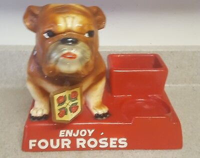 """Enjoy Four Roses"" Chalkware Bulldog Adv Rare 1950s Mattei w/Tag on Collar"