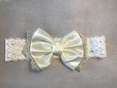 Bridal White And Cream Ribbon Bow Wedding Lace Garter Bride Hen Party UK Seller