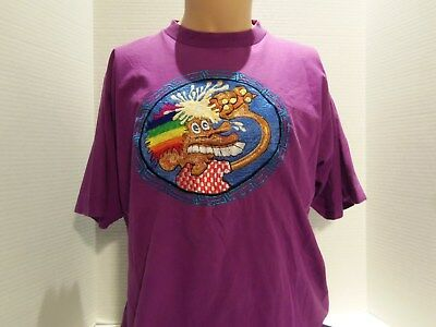 VINTAGE 80s GRATEFUL DEAD EMBROIDERED(EUROPE 72) T-SHIRT(LARGE)PURPLE-VERY RARE
