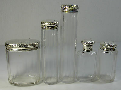 An Antique / Vintage Lot Of Five Beautifully Made Glass Bottles With Silver Lids