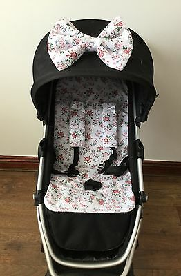 Floral vintage brier roses PRAM LINER BOW HARNESS COVERS BUGGY PUSHCHAIR