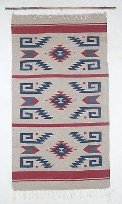 Zapotec Oaxacan Hand Woven Organic Dyed Floor Mat or Wall Hanging Tapestry Rug