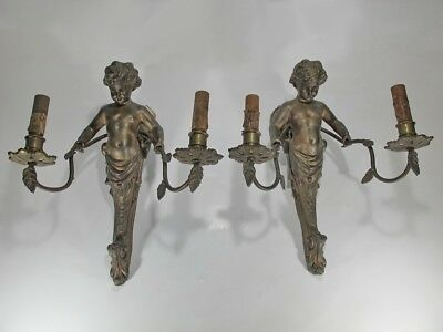 Antique French pair of bronze wall sconces # 20140