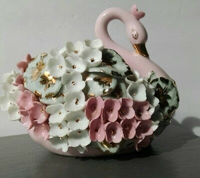 Vintage Handpainted Lefton China Swan Pink with Flowers signed K8059