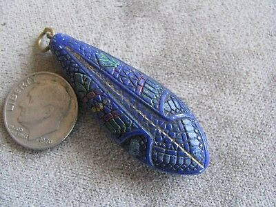 Vintage Czech Egyptian Revival Art Deco Glass Bead Pendant Blue Colorful