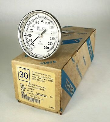 "New in Box TREND Model 30 1/2"" NPT Bimetal Thermometer 6"" Stem 1/2"" NPT J11"
