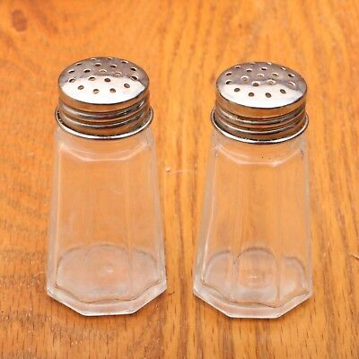 Clear Glass Fluted Metal Top Salt & Pepper Shakers