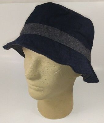 Urban Outfitters Mens Bucket Hat One Size Navy Blue Gray Wool Polyester New  5693 7a5f0e18bbcf