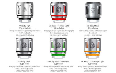SMOK TFV12 BABY PRINCE Replacement Coils - Q4 | T12 | V8 Baby Mesh | Strip