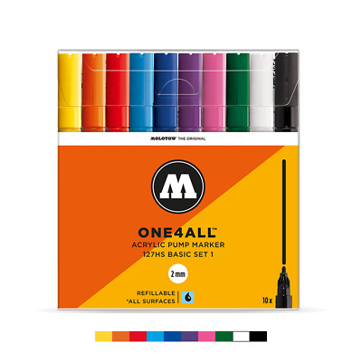 6 Markers with User Guide Basic Set Molotow One4All 327 HS Acrylic Marker