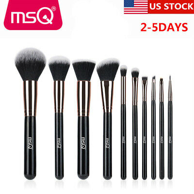 MSQ 10Pcs Pro Cosmetic Makeup Brush Set Eyeshadow Foundation Blush Brushes Gold