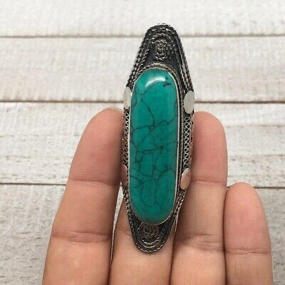 Antique Afghan Turkmen Ring Tribal Long Oval Turquoise Inlay Kuchi Ring, TR49