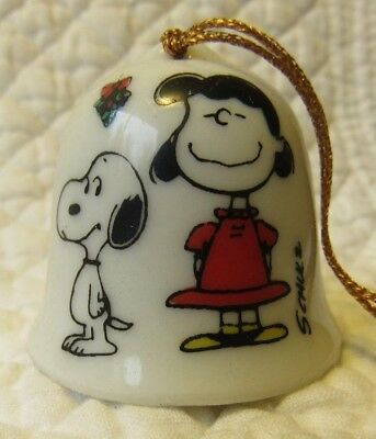 Vintage Peanuts Christmas Bell Ornament Lucy Snoopy Miniature 1 5 Tall