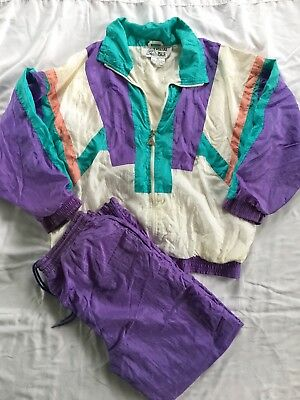 Vintage 80s 90s Casual Isle Track Suit Windbreaker Jacket Set Size S Color Block