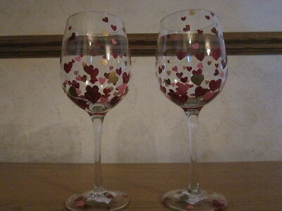 S 2 Pier 1 Valentines Day Hearts Hand Painted Wine Glass Nwt