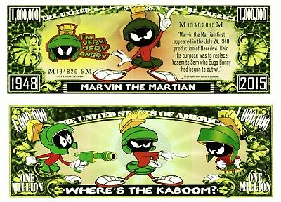 Marvin The Martian Million Dollar Bill **Novelty Money** FREE Sleeve