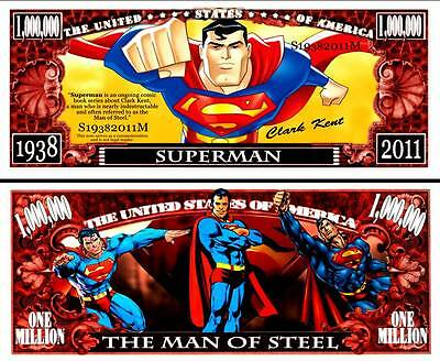 Superman Million Dollar Bill **Novelty Money** FREE Sleeve