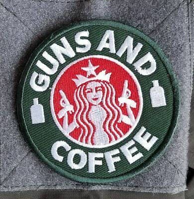 Guns And Coffee Starbucks Usa Army Morale Hook Patch Forest Embroidered Badge