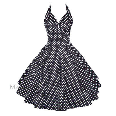 Rockabilly 50er Neckholder Kleid Petticoat Pin Up Party Baumwolle