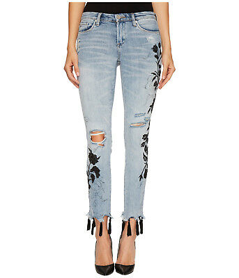 Blank NYC Women's P2591 Floral Crop Embroidered Tassel-Hem Skinny Jeans,$128