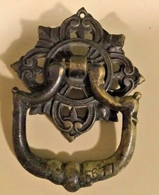 Antique Vintage Victorian Solid Brass Drawer Pulls Single Screw Unique F677
