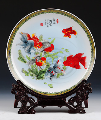 Collectibles  Jingdezhen ceramics  Goldfish swimming in the water  decorate