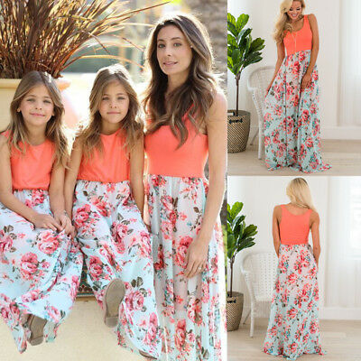 Mother Daughter Summer Boho Floral Long Maxi Dress Family Matching Dress Outfits