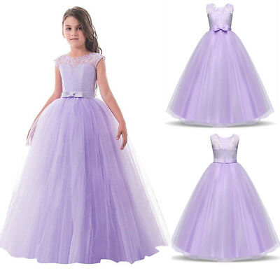 Flower Girl Princess Lace Long Dress Party Wedding Bridesmaid Formal Purple Gown