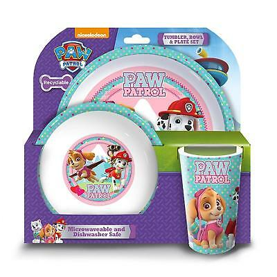 Kids Toddler Sturdy Paw Patrol Girls Tumbler Bowl and Plate Set Pink Set of 3